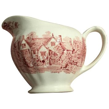 Vintage English Pink / Red Transferware Pitcher Creamer Romantic England