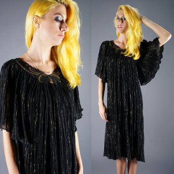 Vintage Boho Gauze Sparkly Dress Sheer Black Gold Lurex Caftan Hippie Indian Dress OSFM Size Small Medium Large Bust 34 36 38 40 42 44 46
