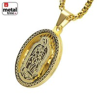 """Jewelry Kay style Stainless Steel Oval Virgin Mary Guadalupe 3D Pendant 24"""" Box Chain SCP 150 G"""