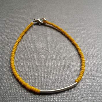 Opaque Yellow and Silver Tube Seed Bead Bracelet