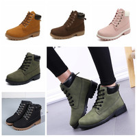 2017 New Nubuck Leather Women Boots Lace up Solid Casual Ankle Boots Martin Round Toe Women Shoes Timber Boots