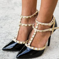 Black Studded Strappy Heels