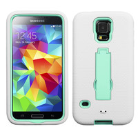 MYBAT Symbiosis Protector Case for Samsung Galaxy S5 - White/Mint Blue