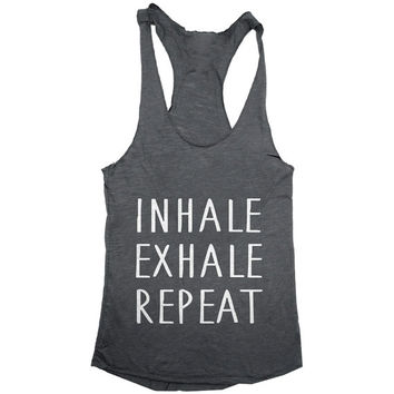 Inhale Exhale repeat racerback tank top dark grey yoga gym fitness work out