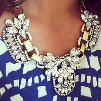 Bubble Necklace Statement Necklace Crystal Bubble Tiered Glass Stone Rhinestone Wedding Party Bib Necklace(N0634)