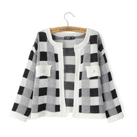 Plaid Long-Sleeve None-Button Knitted Cardigan