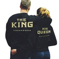 THE KING&QUEEN Gold printed jacket with a round collar casual lovers' clothes sweater