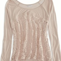 AEO Women's Lace Front Top (Rose)