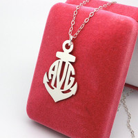 Newest monogram necklace--personalized anchor monogram customized--925 sterling silver 1.5 inch monogram necklace
