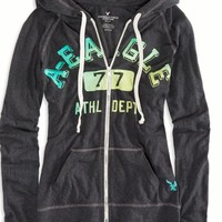AEO Women's Graphic Hoodie (Ebony Grey)
