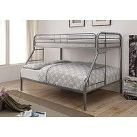 Twin over Full Bunk Bed In With Metal Frame, Silver