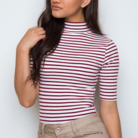 So Sofia Striped Bodysuit - Burgundy