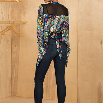 Abstract Crop Blouse