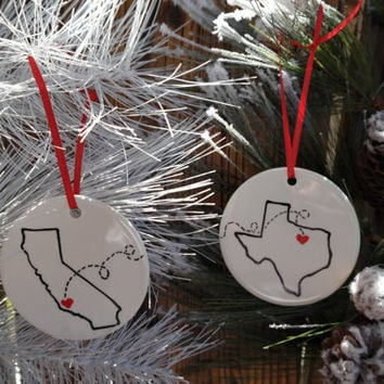 Miss You Christmas Ornament, Best Friends, Christmas Gift, Moving Away, Away from Home, Long Distance Relationship, Army Gift