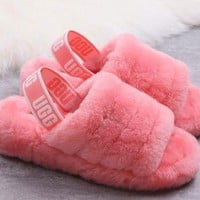 UGG Slippers New Women's Fashion Fluff Yeah Slipper Slide Pink