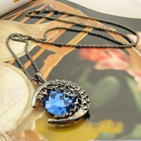 Hollow Out Pattern Silver Crescent Moon Big Pendant Necklace With Round Blue Glass Charm