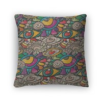 Throw Pillow, Pattern Of Psychedelic Eyes In Vintage Style