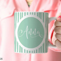 Pretty Mugs, Mugs for Her, Aqua Mug, Mugs Personalized, Custom Name Mugs, Coffee Mugs for Women, Kids Mugs, Girl Mugs, Pastel Mugs (P5011)