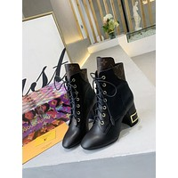 lv louis vuitton trending womens black leather side zip lace up ankle boots shoes high boots 312