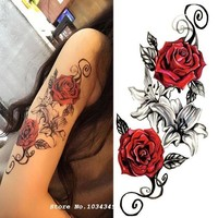 ac PEAPO2Q 1pcs Watercolor Flower Temporary Body Tattoo so Beautiful can be used for Shoulder,thigh, or Back Body decor