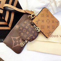 Louis Vuitton LV Hot Sale Women Clutch Bag Wristlet Key Pouch Handbag Wallet Purse Three Piece Set