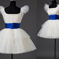 A-line Bateau Short sleeve Short/Mini Satin Organza Fashion Prom Dresses/Wedding Dress/Cocktail Dress With Sashes Free Shipping