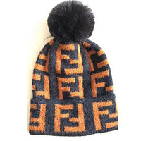 FENDI Women Men FF Letter Jacquard Knit Warm Hat Wool Cap