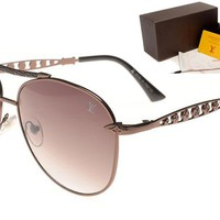 LV Mirrored Flat Lenses Street Fashion Metal Frame Women Sunglasses [2974244689]