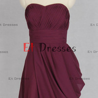Asymmetry short chiffon Bridesmaid Dress Prom Dress Formal Evening Dress Party Dress