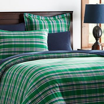 Fireside Plaid Flannel Duvet Cover + Sham