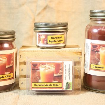 Caramel Apple Cider Candles and Wax Melts, Highly Scented Beverage Candle and Wax Tarts, Great Fall Fragrance, Housewarming Gift