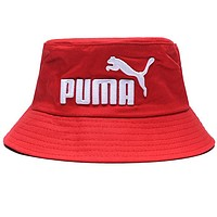 PUMA Fashion Women Men Casual Embroidery Canvas Fisherman Hat Cap Red