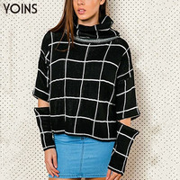 YOINS 2016 New Women Turtle High Roll Neck Jumper with Zip Sleeves Loose Casual Fashion Knited Plaid Autumn Winter Sweater Tops