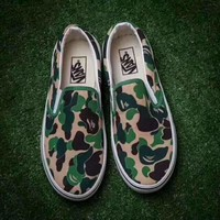 VANS X Aape camouflage green Classic Canvas Leisure Shoes H-A-GHSY-1