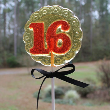 1 dz SWEET 16 Birthday Party Favors Hard Candy Barley Sugar Lollipops Suckers 16th Wedding Anniversary Favors Gifts