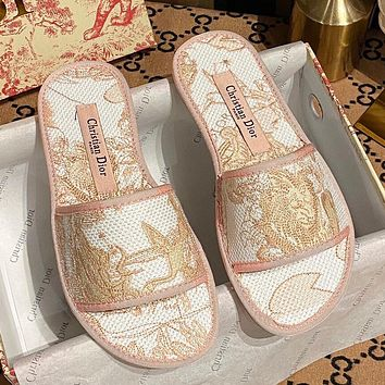DIOR canvas embroidered pattern flat casual slippers sandals Shoes Pink