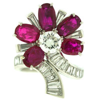 Van Cleef & Arpels Ruby Diamond Platinum Stylized Flower Motif Ring