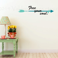 Free you soul with arrow vinyl wall decal, wall sticker, decal, wall graphic, sticker, vinyl graphic, graphic image, home decor