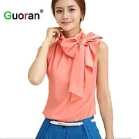 Women Silk Blouses Formal Chiffon Shirts Bow-Knot Sleeveless Tops