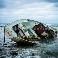 Shipwrecked - Fine Art Photography Nautical Scene Cloudy Blue Green Boat Wreck Dramatic