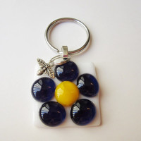 Colorful Flower Keychain, Spring Flower Keychain, Floral Keychain, Fused Glass Flowers, Abstract Flower, Key Ring, Key Chain