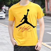 JORDAN Summer Men Women Casual Print Short Sleeve T-Shirt Top Blouse Yellow
