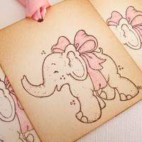 Elephant Baby Shower Gift Tags, Set of 6, New Baby Girl, Pink, Decorations, Favor, Hang Tags, Vintage Style, Luxury Tags
