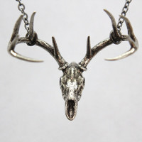Trophy Stag Deer Skull Pendant Necklace in Solid White by mrd74