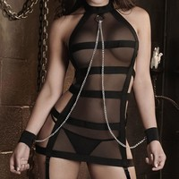 Polyester Sexy Lingerie Women Mesh Chains Erotic Lingerie Hot Sexy Costumes Black Underwear Slips Intimates Dress 1 Piece