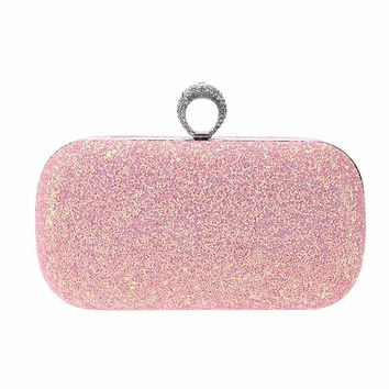 Fullbeing Women Glitter Shoulder Hard Wallets Wedding Evening Clutch Party Chain Bags