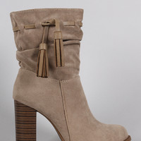 Suede Tassel Chunky Heeled Ankle Boots
