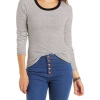 Ribbed & Striped Long Sleeve Top by Charlotte Russe