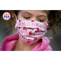 Hello Kitty Face Mask, Cotton Face Mask, Adult / Kids, Girls or Womens, Pink
