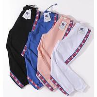 Champion Popular Woman Men Logo Print Sport Drawstring Pants Trousers I